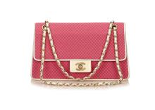 Chanel Matelasse Pink Cotton Shoulder Bag, c. 2002-03, with gold chain and hardware, 28.5cm wide, 17cm high  Condition Grade B Please refer to department for condition report