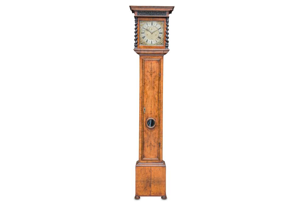 A RARE LATE 17TH CENTURY WALNUT LONGCASE CLOCK WITH TEN INCH DIAL AND BOLT AND SHUTTER SIGNED THOMAS