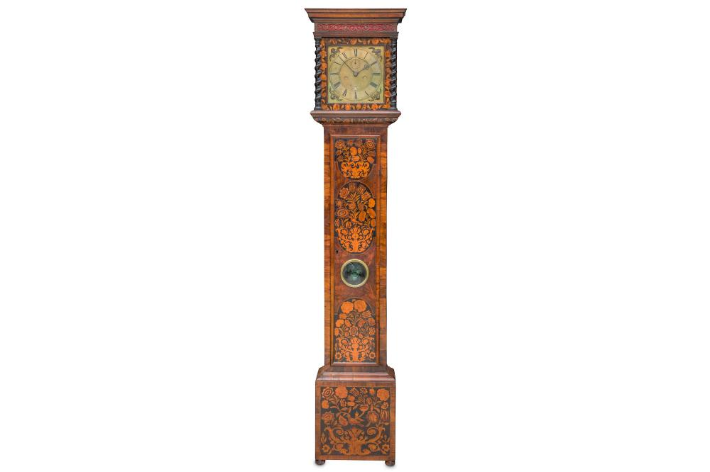 A RARE LATE 17TH CENTURY WALNUT FLORAL MARQUETRY LONGCASE CLOCK WITH TEN INCH DIAL AND BOLT AND SHUT