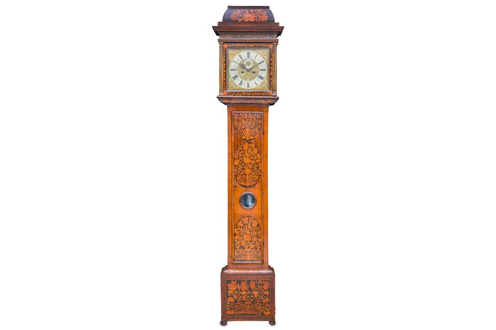 A LATE 17TH CENTURY WALNUT AND FLORAL MARQUETRY LONGCASE CLOCK SIGNED THOMAS BARRETT OF LEWES