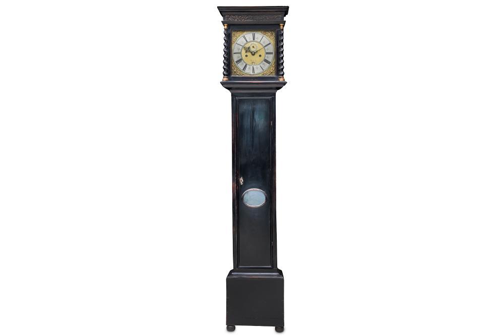 A LATE 17TH CENTURY EBONISED LONGCASE CLOCK SIGNED JOSEPH GILBURT, LONDON