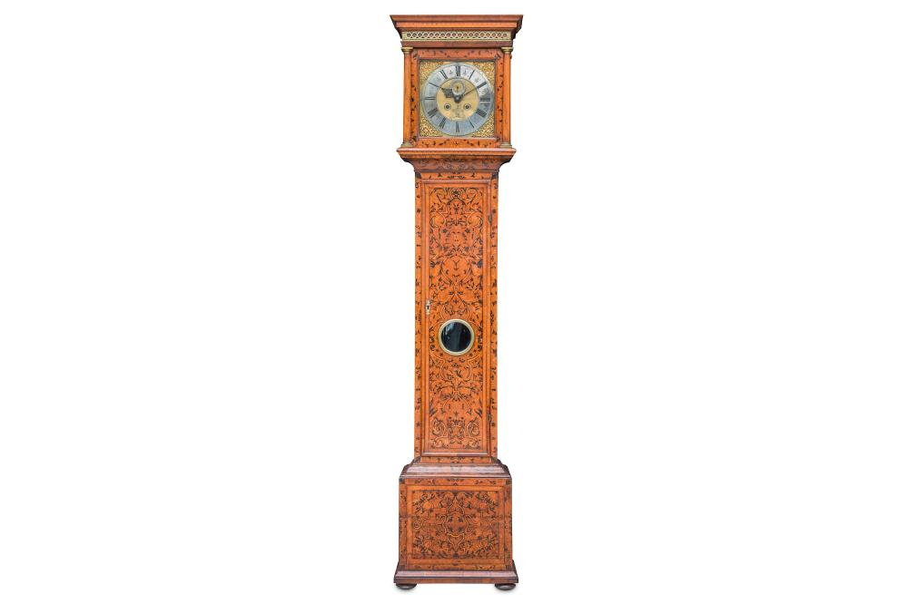 A RARE AND FINE EARLY 18TH CENTURY WALNUT ARABESQUE SEAWEED MARQUETRY MONTH GOING LONGCASE CLOCK WIT