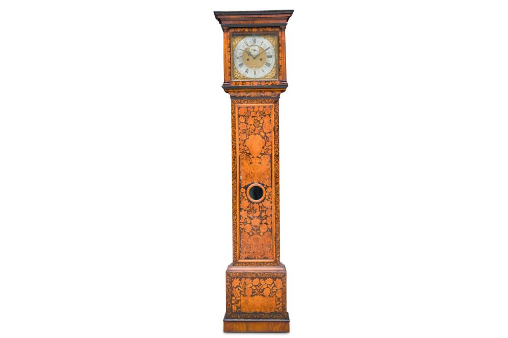 A FINE EARLY 18TH CENTURY QUEEN ANNE PERIOD FLORAL AND SEAWEED MARQUETRY LONGCASE CLOCK SIGNED CORNE