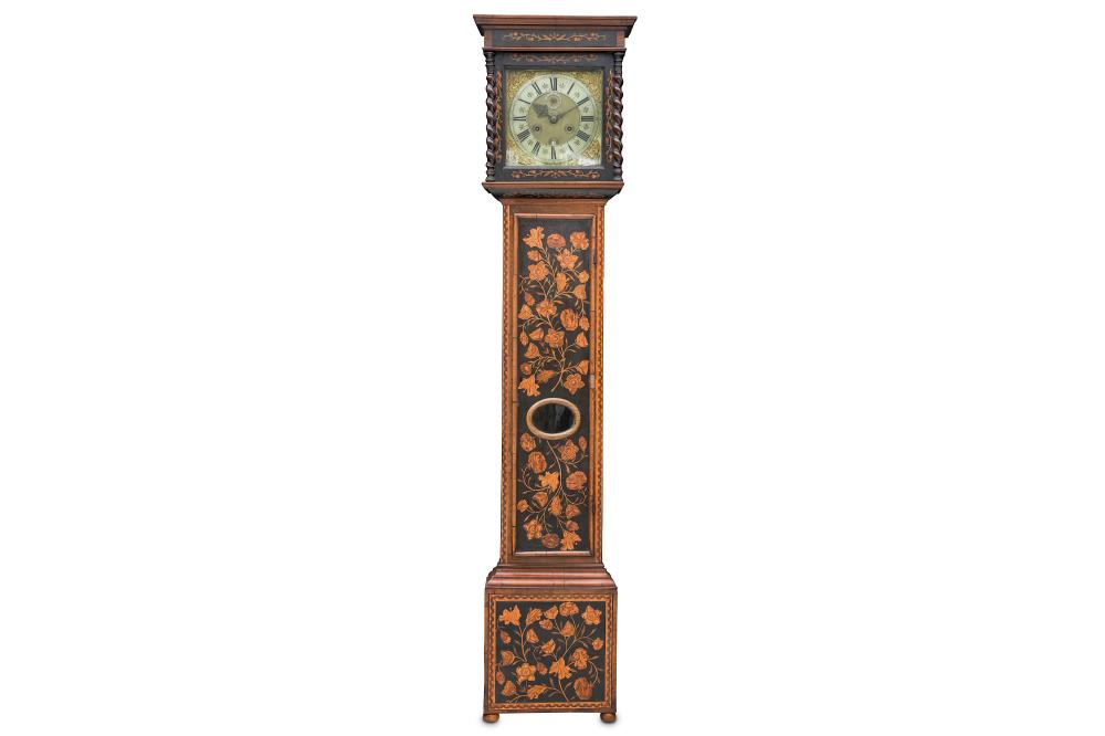 A RARE EARLY 18TH CENTURY WILLIAM III WALNUT AND FLORAL MARQUETRY MONTH GOING LONGCASE CLOCK BY WILL