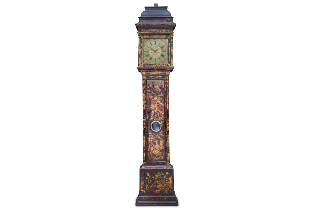 A FINE EARLY 18TH CENTURY CHINOISERIE DECORATED LONGCASE CLOCK SIGNED WILLIAM KIPLING, LONDON