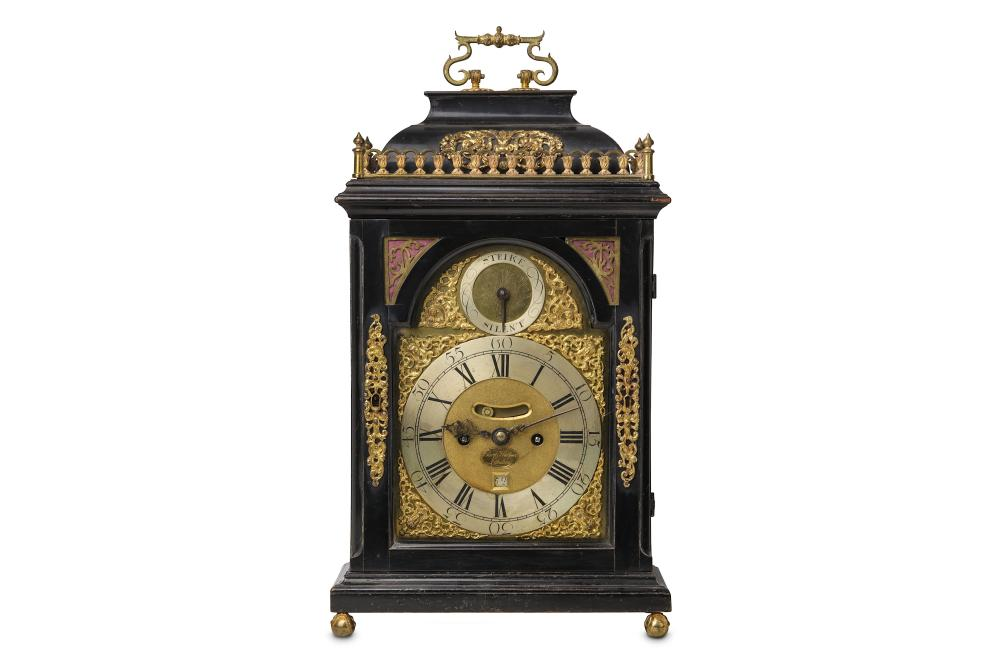 AN EARLY 18TH CENTURY EBONISED AND GILT BRASS MOUNTED TABLE / BRACKET CLOCK SIGNED CORNELIUS HERBERT