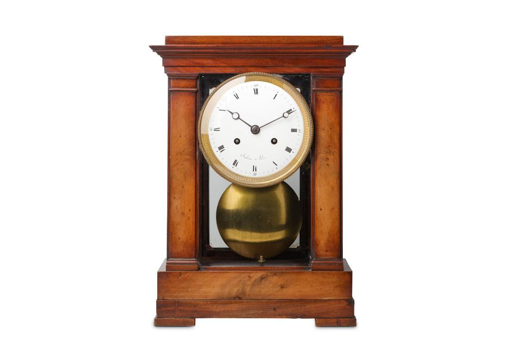 A FINE MID 19TH CENTURY FRENCH MAHOGANY FOUR GLASS MONTH GOING MANTEL CLOCK SIGNED IMBERT, PARIS
