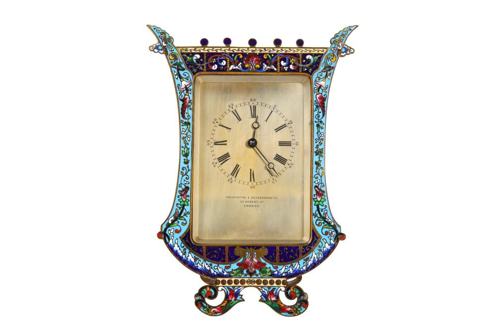 MANNER OF THOMAS COLE: A THIRD QUARTER 19TH CENTURY CLOISONNE ENAMEL AND GILT BRONZE STRUT CLOCK IN