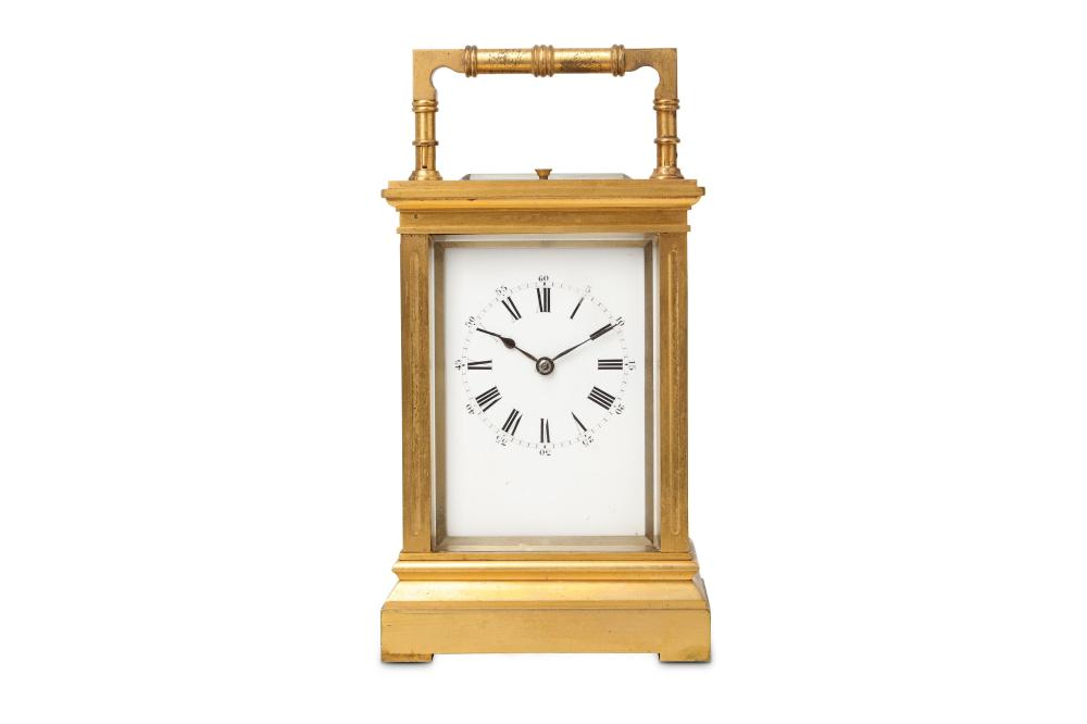 A LATE 19TH CENTURY FRENCH GILT BRASS CARRIAGE CLOCK WITH REPEAT BY RICHARD & CIE, PARIS