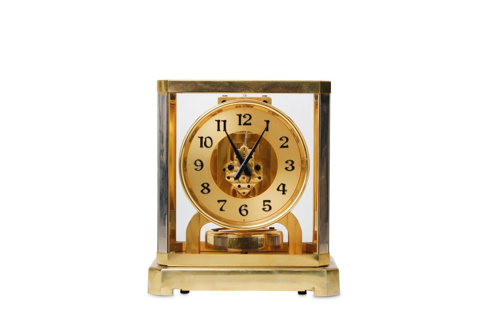 A RARE EARLY LACQUERED BRASS BREVETS REUTTER ATMOS CLOCK CIRCA 1940, NO. 7447