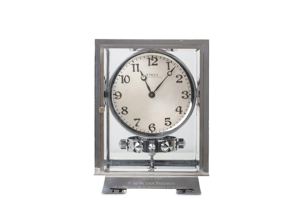 A VERY RARE 1930'S CHROME 'PENDULE PERPETUELLE' ATMOS CLOCK BY J.L. REUTTER, NO. 3317