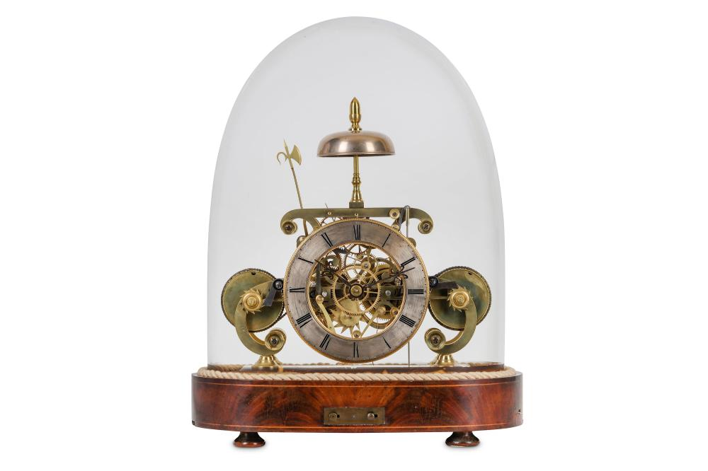 A FINE MID 19TH CENTURY ENGLISH BRASS DOUBLE FUSEE MUSICAL SKELETON CLOCK