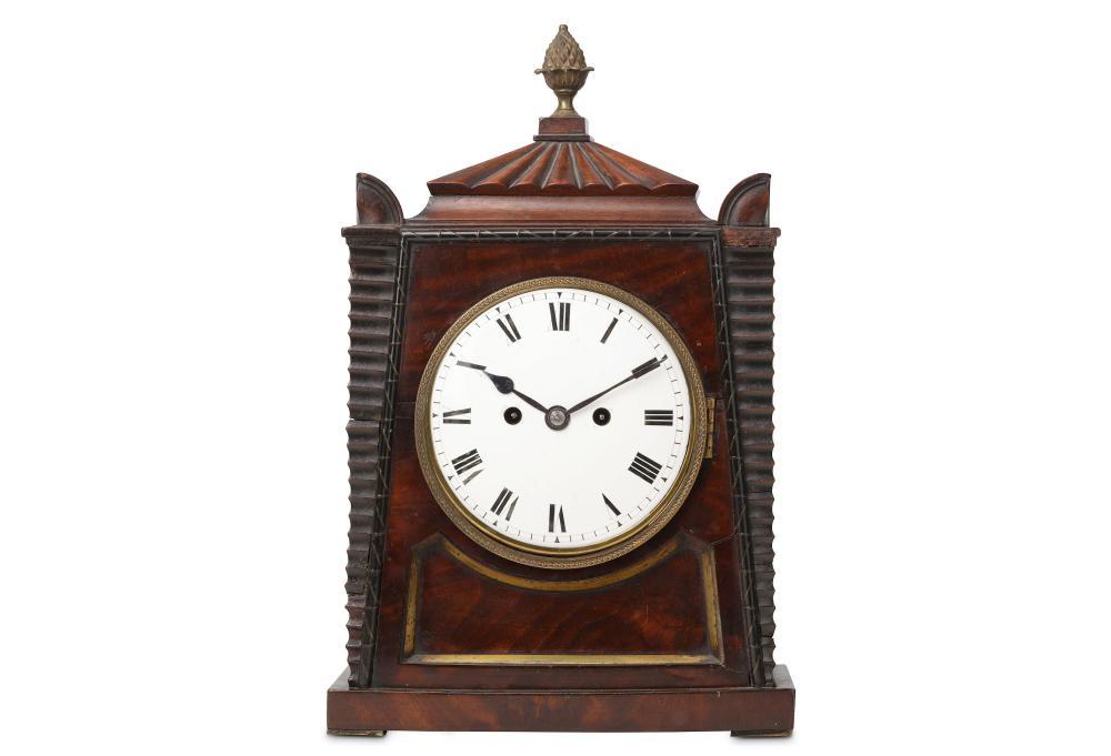 A SMALL EARLY 19TH CENTURY REGENCY PERIOD MAHOGANY FUSEE TABLE CLOCK