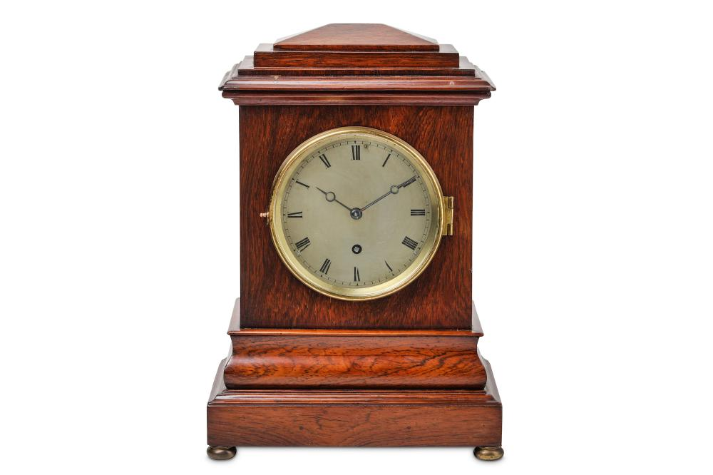 A MID 19TH CENTURY ENGLISH MAHOGANY FUSEE MANTEL CLOCK