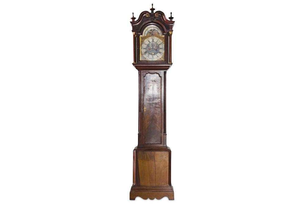A FINE GEORGE III MAHOGANY LONGCASE CLOCK WITH MOONPHASE SIGNED 'TRYALL RIDER MANCHESTER' CIRCA 1760