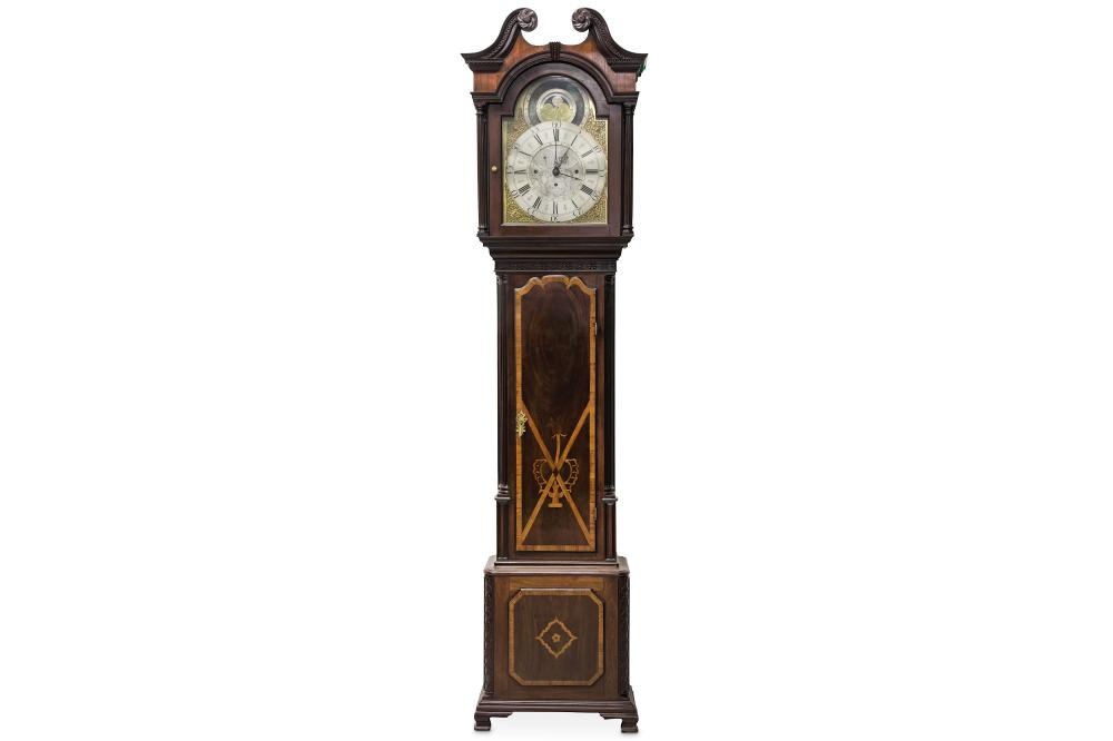 A VERY RARE AND IMPORTANT GEORGE III MAHOGANY AND MARQUETRY MUSICAL AND ASTRONOMICAL LONGCASE CLOCK,