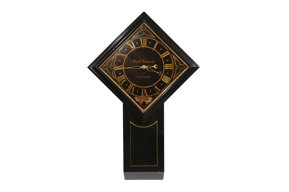 A LARGE EARLY 19TH CENTURY ENGLISH TAVERN OR 'ACT OF PARLIAMENT' CLOCK BY RICHARD FRANCIS, ATTLEBURG