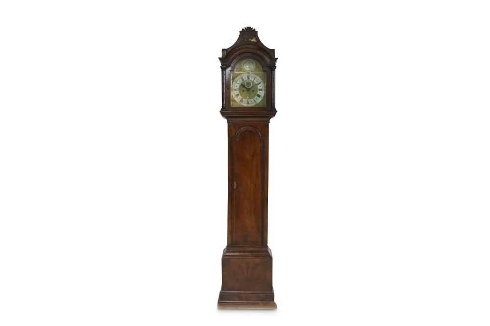 A GEORGE III MAHOGANY LONGCASE CLOCK SIGNED GEORGE CLARKE, LEADEN HALL STREET, LONDON