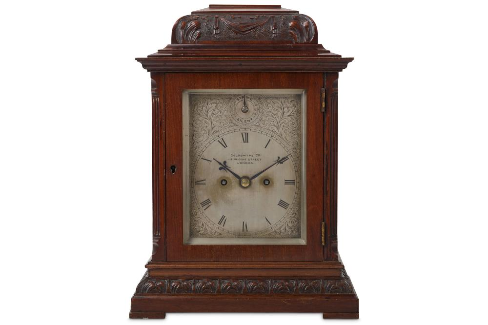 A LATE 19TH CENTURY ENGLISH MAHOGANY FUSEE MANTEL CLOCK SIGNED 'GOLDSMITHS & CO. 112 REGENT STREET,