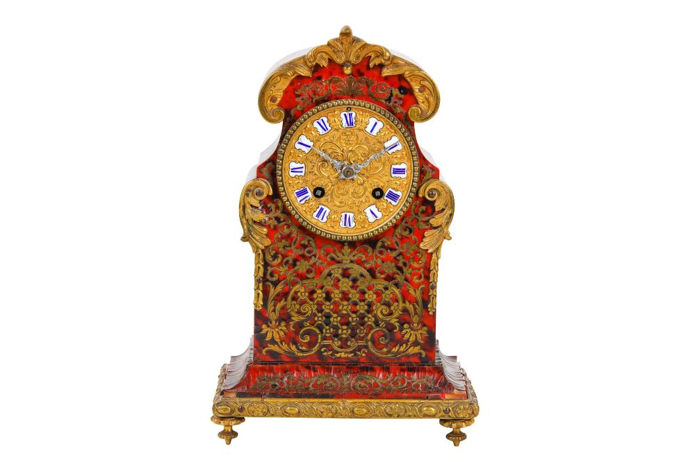 A THIRD QUARTER 19TH CENTURY FRENCH 'BOULLE' STYLE TORTOISESHELL, CUT BRASS AND GILT BRONZE MOUNTED