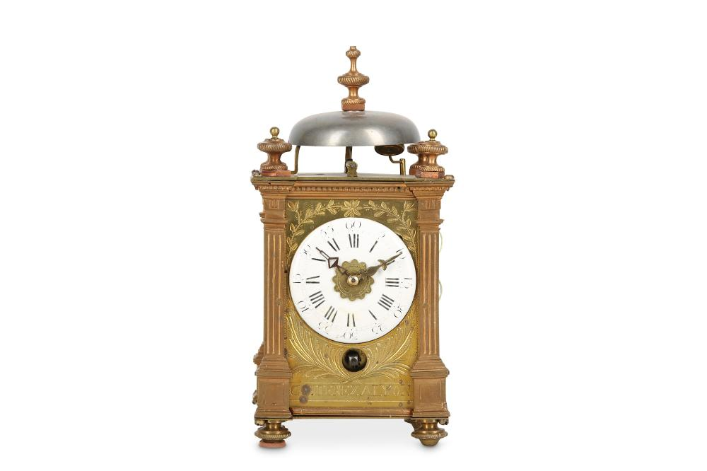 A RARE MID 18TH CENTURY FRENCH GILT BRONZE CARRIAGE / TRAVELLING CLOCK WITH ALARM BY COUTEREZ A LYON