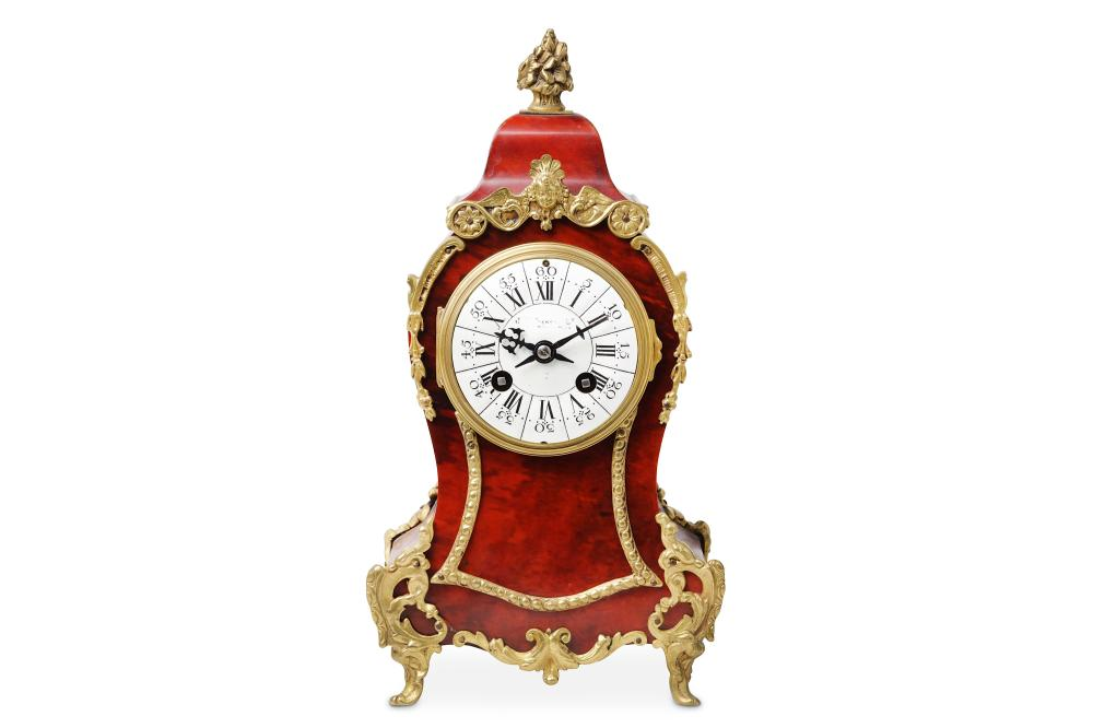 A LATE 19TH CENTURY FRENCH BOULLE STYLE TORTOISESHELL AND GILT BRASS MOUNTED MANTEL CLOCK SIGNED 'J.