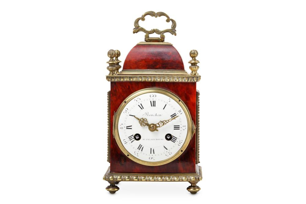 A LATE 19TH CENTURY FRENCH TORTOISESHELL AND GILT BRONZE MOUNTED TRAVELLING CLOCK BY 'PLANCHON AU PA