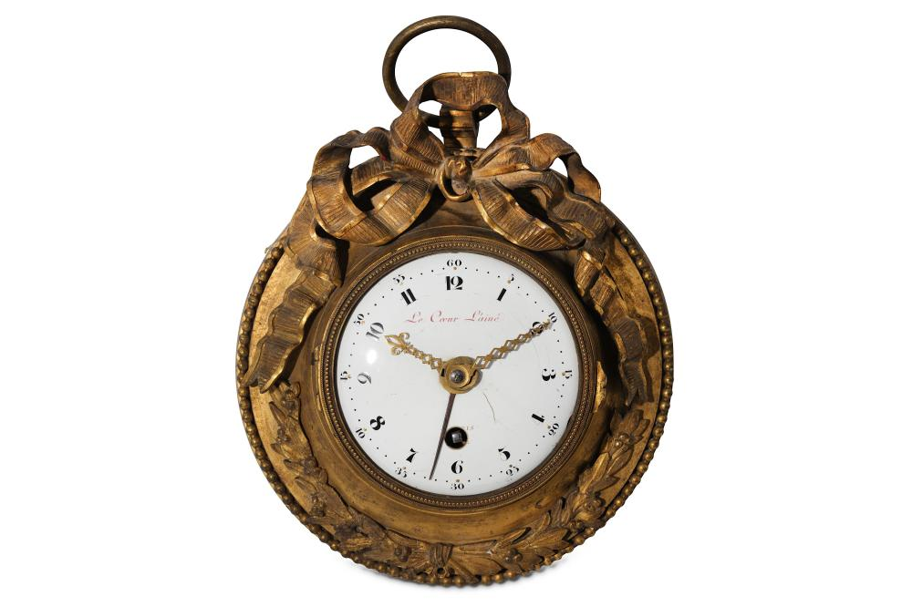 A RARE FRENCH LOUIS XVI PERIOD GILT BRONZE SEDAN CLOCK WITH ALARM AND PULL REPEAT SIGNED LE COEUR L'