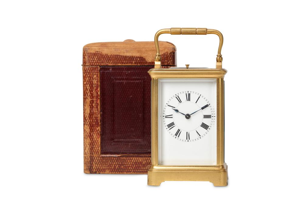 A LATE 19TH CENTURY FRENCH GILT BRASS CARRIAGE CLOCK WITH PUSH REPEAT BY HENRI JACOT