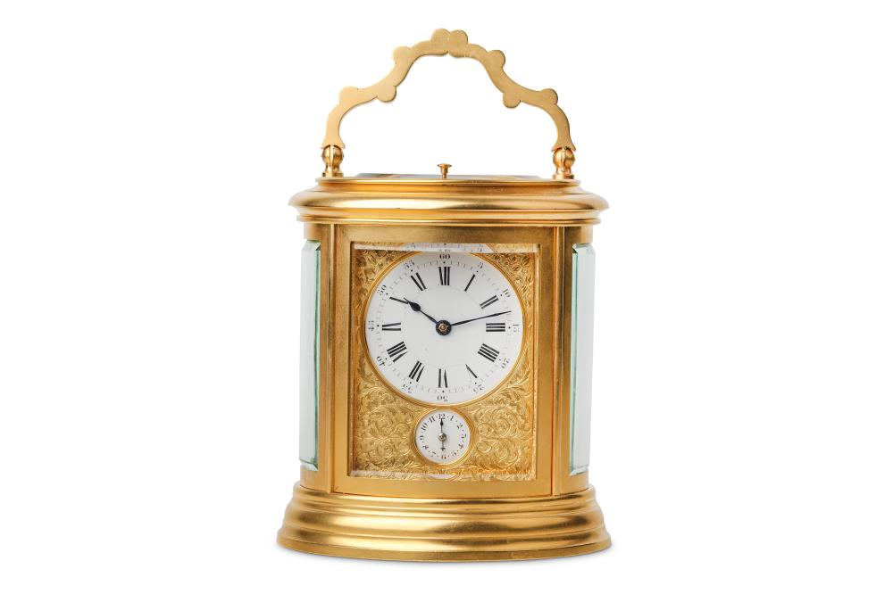 A LATE 19TH FRENCH GILT BRASS CARRIAGE CLOCK WITH ALARM AND REPEAT