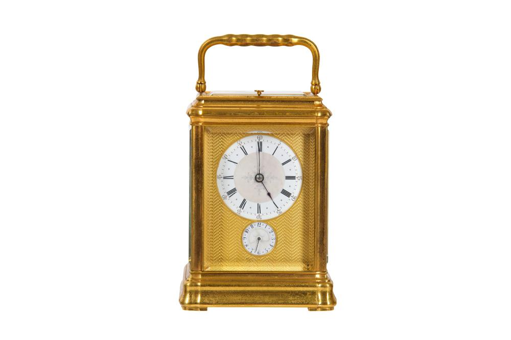 JOSEPH SOLDANO, PARIS A FINE LATE 19TH CENTURY FRENCH GILT BRASS QUARTER CHIMING CARRIAGE CLOCK WITH