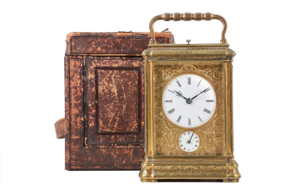 A LATE 19TH CENTURY FRENCH GILT BRASS GRANDE SONNERIE CARRIAGE CLOCK WITH ALARM AND REPEAT