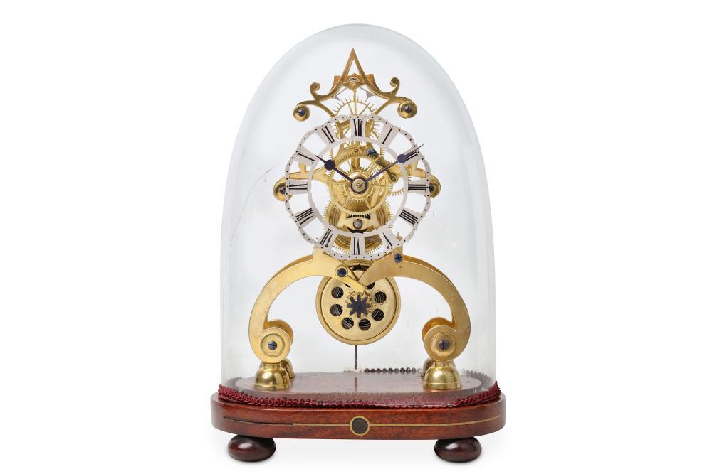 A LATE 19TH CENTURY BRASS SKELETON CLOCK