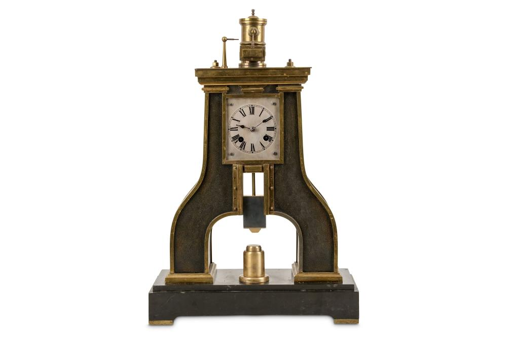 A LATE 19TH CENTURY PATINATED AND LACQUERED BRASS INDUSTRIAL NOVELTY STEAM HAMMER CLOCK, SIGNED A. R
