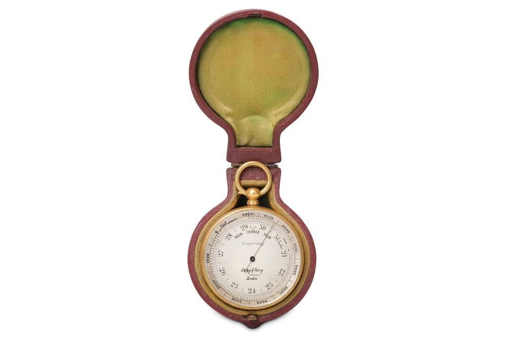 AN EARLY 20TH CENTURY GILT BRASS POCKET COMPENSATED BAROMETER IN ORIGINAL CASE