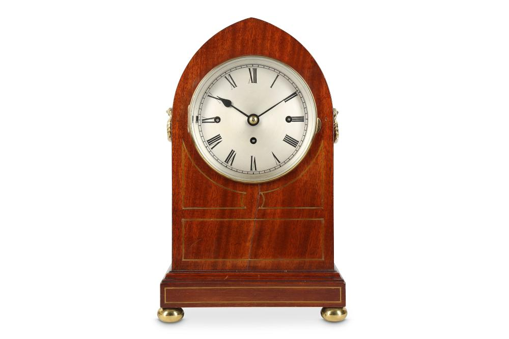 A LATE 19TH CENTURY ENGLISH MAHOGANY QUARTER CHIMING FUSEE MANTEL CLOCK