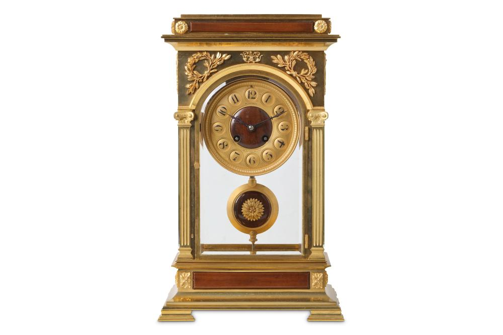 A FINE AND UNUSUAL LATE 19TH CENTURY FRENCH GILT BRONZE AND MAHOGANY MOUNTED FOUR GLASS MANTEL CLOCK