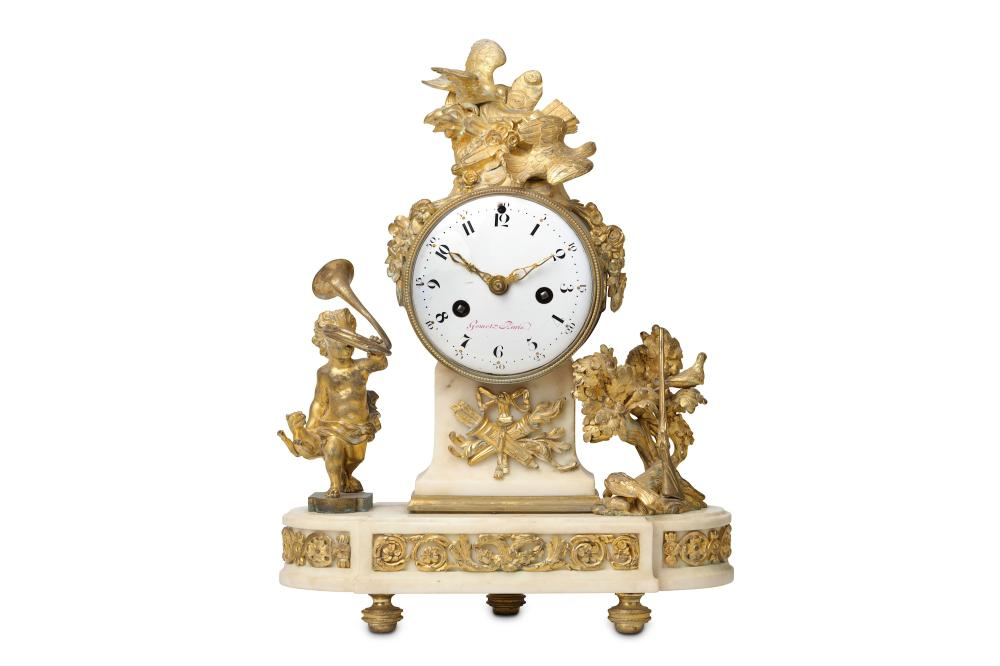AN 18TH CENTURY LOUIS XVI PERIOD GILT BRONZE AND WHITE MARBLE FIGURAL MANTEL CLOCK SIGNED ETIENNE GO