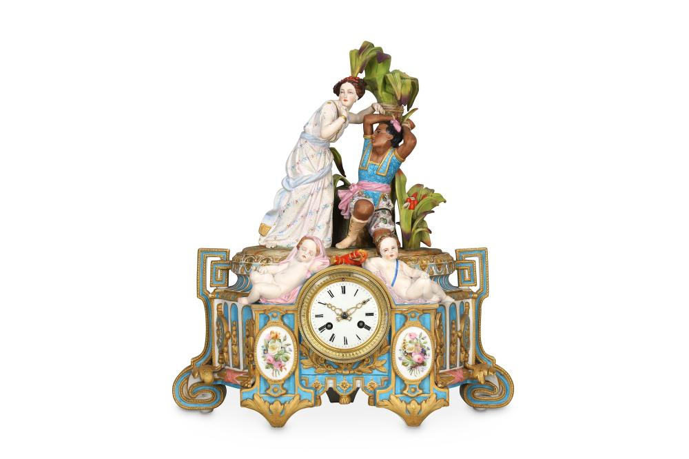 A LATE 19TH CENTURY CHANTILLY STYLE PORCELAIN FIGURAL CLOCK, POSSIBLY SAMSON