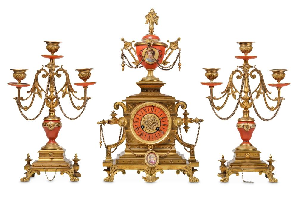 A LATE 19TH CENTURY FRENCH GILT BRONZE AND PORCELAIN MOUNTED CLOCK GARNITURE IN THE MANNER OF BARBED