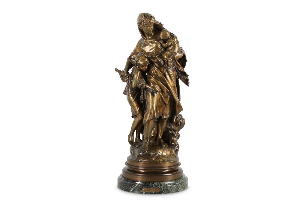 MATHURIN MOREAU (FRENCH 1822-1912): A LARGE BRONZE FIGURAL GROUP OF A MOTHER AND CHILD IN A STORM EN