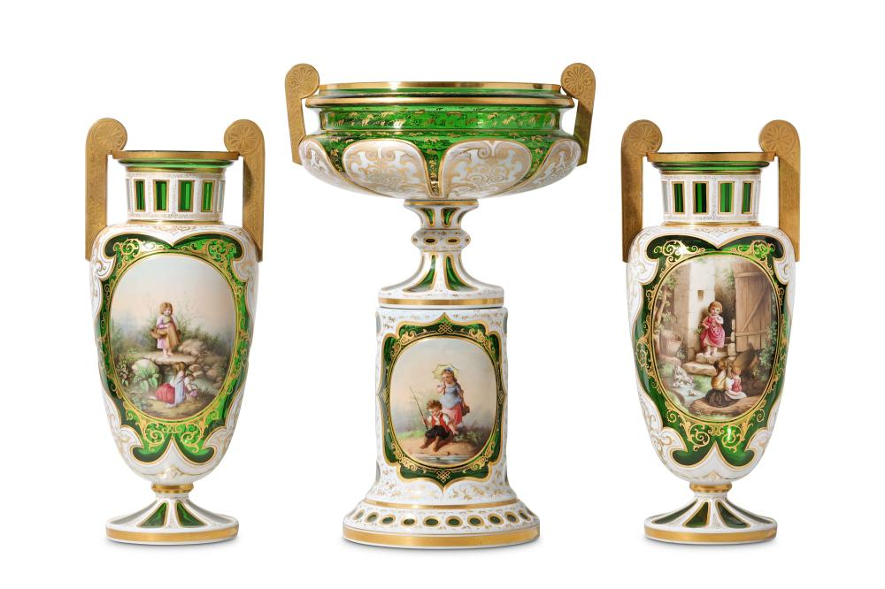 A FINE LATE 19TH CENTURY BOHEMIAN OVERLAY GLASS GARNITURE OF VASES