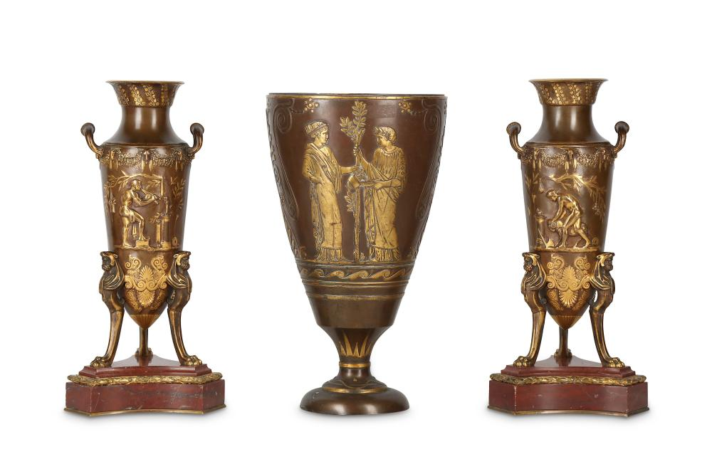 A LATE 19TH CENTURY FRENCH NEO-GREC GILT AND PATINATED BRONZE GARNITURE BY FERDINAND BARBEDIENNE, DE