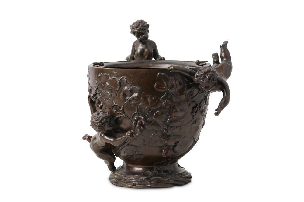 A LATE 19TH CENTURY FRENCH BRONZE FIGURAL JARDINIERE SIGNED 'L. FUGERE'