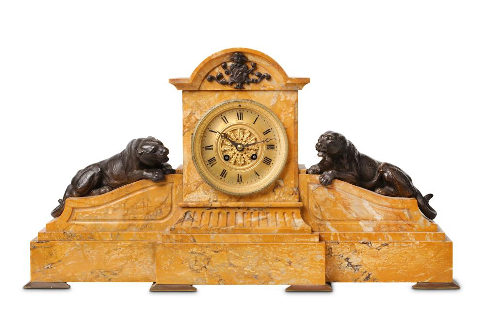 A LATE 19TH CENTURY FRENCH SIENNA MARBLE AND BRONZE MOUNTED MANTEL CLOCK MOUNTED WITH A TIGER AND LE