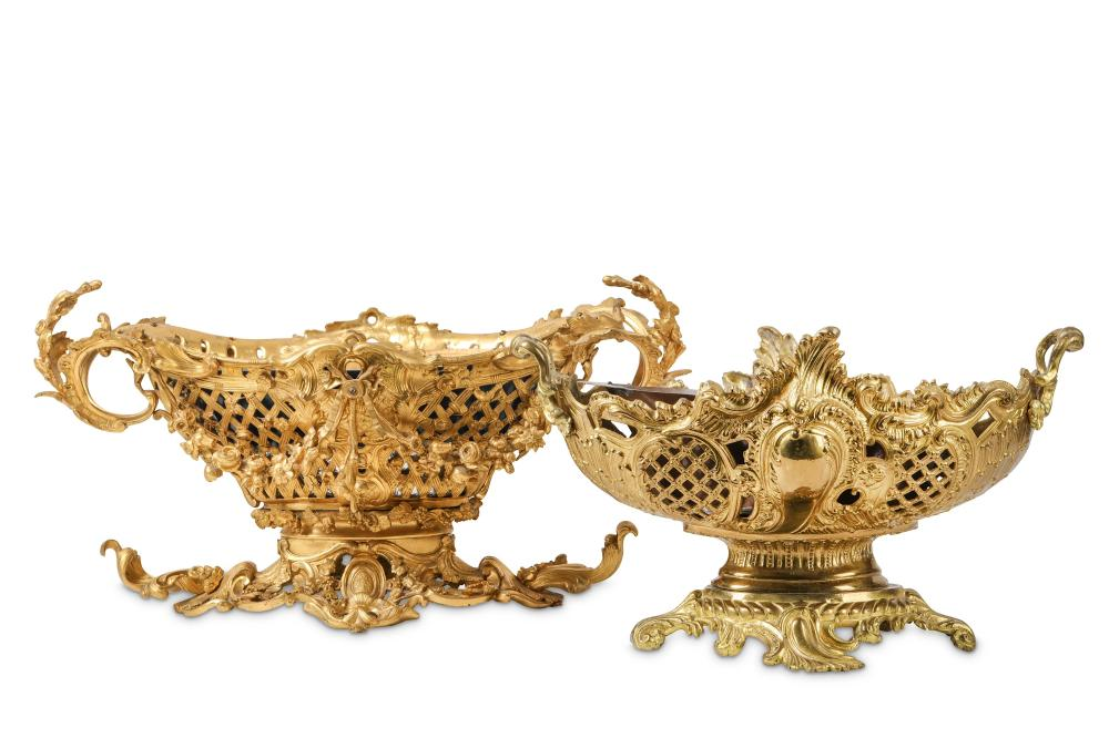 TWO LATE 19TH CENTURY FRENCH GILT BRONZE JARDINIERES IN THE LOUIS XV STYLE