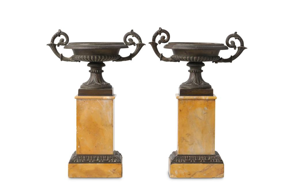 A PAIR OF MID 19TH CENTURY FRENCH BRONZE AND SIENA MARBLE URNS ON STANDS