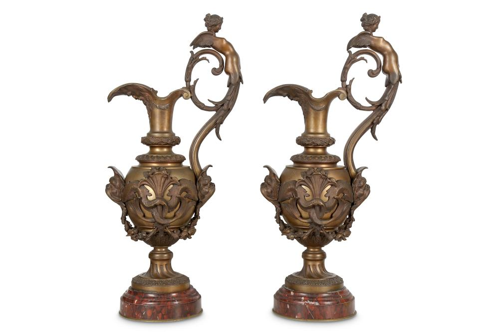 A LARGE PAIR OF NAPOLEON III PERIOD BRONZE EWERS BY VICTOR PAILLARD (FRENCH, 1805-1886)