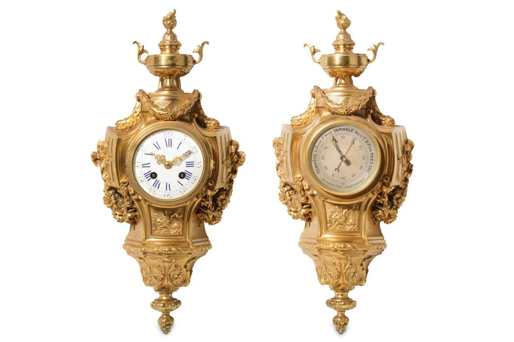 A LATE 19TH CENTURY FRENCH GILT BRONZE CARTEL CLOCK AND BAROMETER ENSUITE, SIGNED 'L. OUDRY & CIE, P