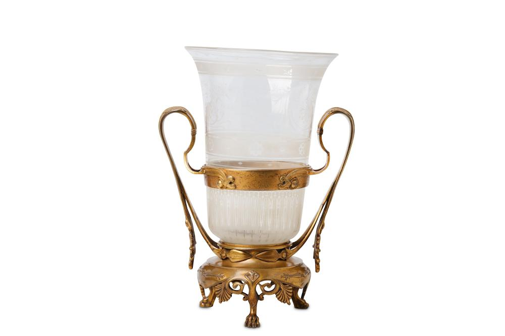 A THIRD QUARTER 19TH CENTURY FRENCH GILT BRONZE AND ETCHED GLASS VASE BY FERDINAND BARBEDIENNE